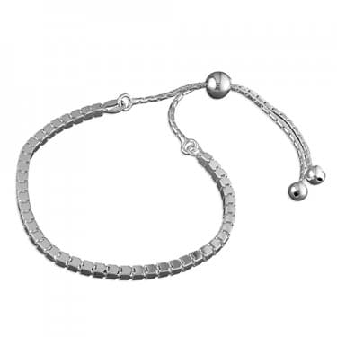 Sterling Silver Box Chain Slider Bracelet