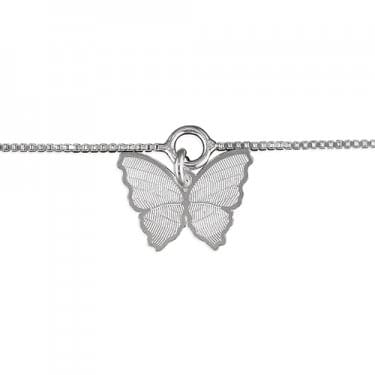 Sterling Silver Butterfly Charm on Chain Anklet 25cm