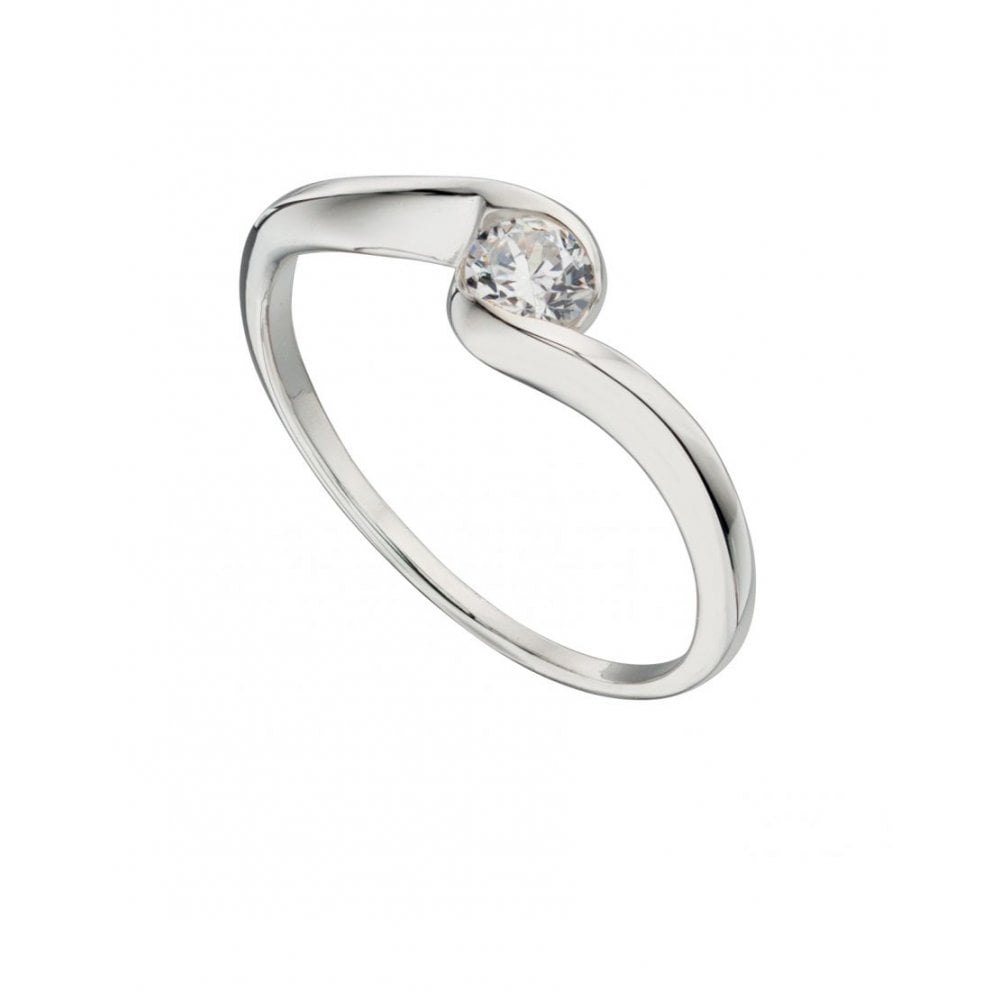 ac8ad30822 Faith Sterling Silver Sterling Silver CZ Swirl Centre Ring - Rings ...