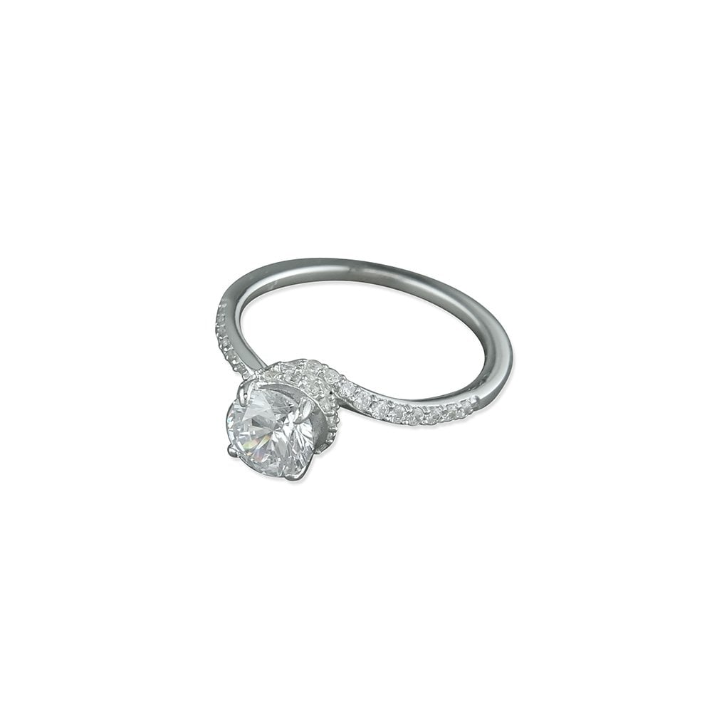 f793802db4 Faith Sterling Silver Sterling Silver CZ Swirl Setting Solitaire ...