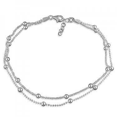 Sterling Silver Double Beaded Chain Chain Anklet 25cm