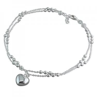 Sterling Silver Double Beaded Chain & Heart Anklet