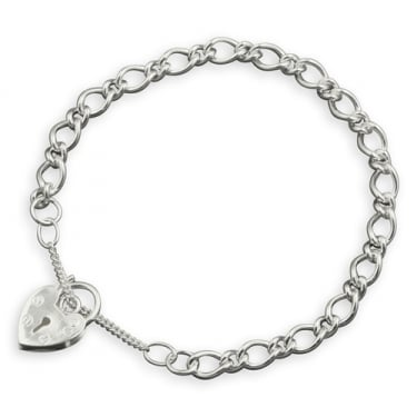 Sterling Silver Fancy Charm and Padlock Bracelet