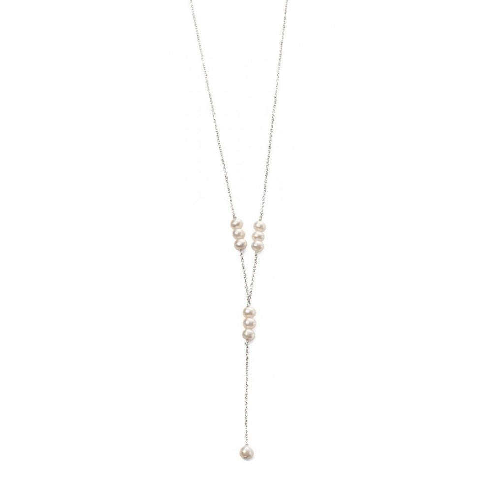 Faith Sterling Silver Sterling Silver Freshwater Pearl Y Drop Necklace