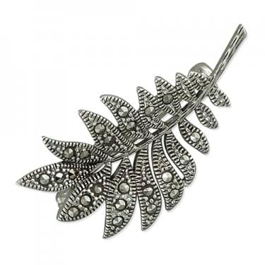 Sterling Silver Marcasite Leaves Brooch