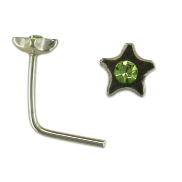 Sterling Silver Nose Stud Crystal Star