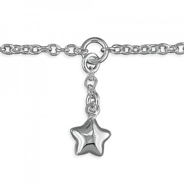 Sterling Silver Star Charm on Chain Anklet 25cm