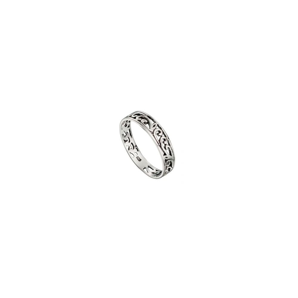 5366a06836 Faith Sterling Silver Sterling Silver Swirl Patterned Band Ring ...