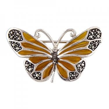 Sterling Silver Yellow Epoxy & Marcasite Butterfly Brooch