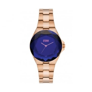 Storm Crystana Rose Gold and Blue Watch