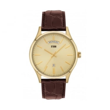 Storm Dudley Brown Leather Strap Watch