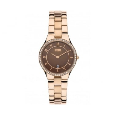 Storm Slim Crystal Rose Gold Watch