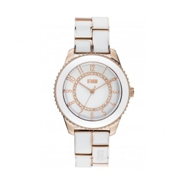 Storm Zarina Rose Gold and White Watch