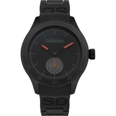Superdry Gents Black Rubber Watch