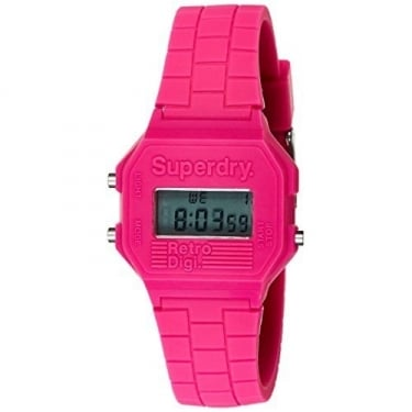 Superdry Ladies Digi Retro Alarm Pink Watch