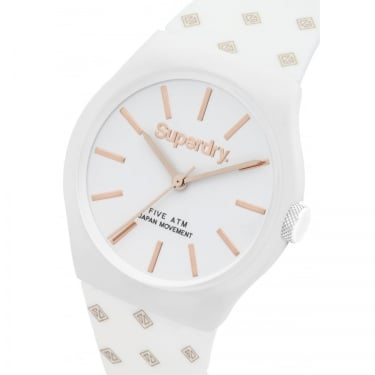Superdry Ladies Urban White Rose Gold Spotty Watch