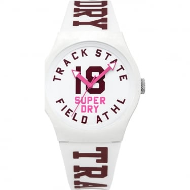 Superdry Ladies White Urban Track and Field Watch