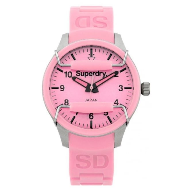 Superdry Watch Large Pink Silicone Strap