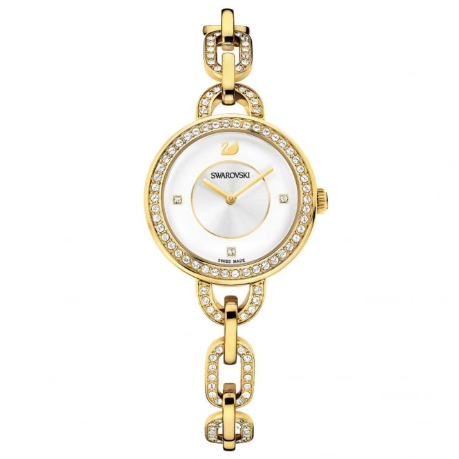 Swarovski Aila Yellow Gold Tone CZ Ladies Watch