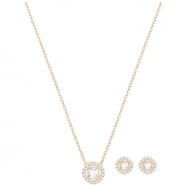 Swarovski Angelic Square Rose Gold Coloured Necklace & Earring Set