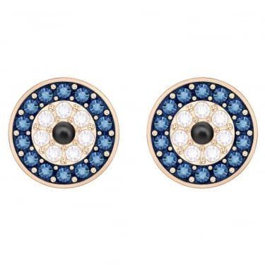 Swarovski Duo Yellow Gold Blue Black Crystal Earrings
