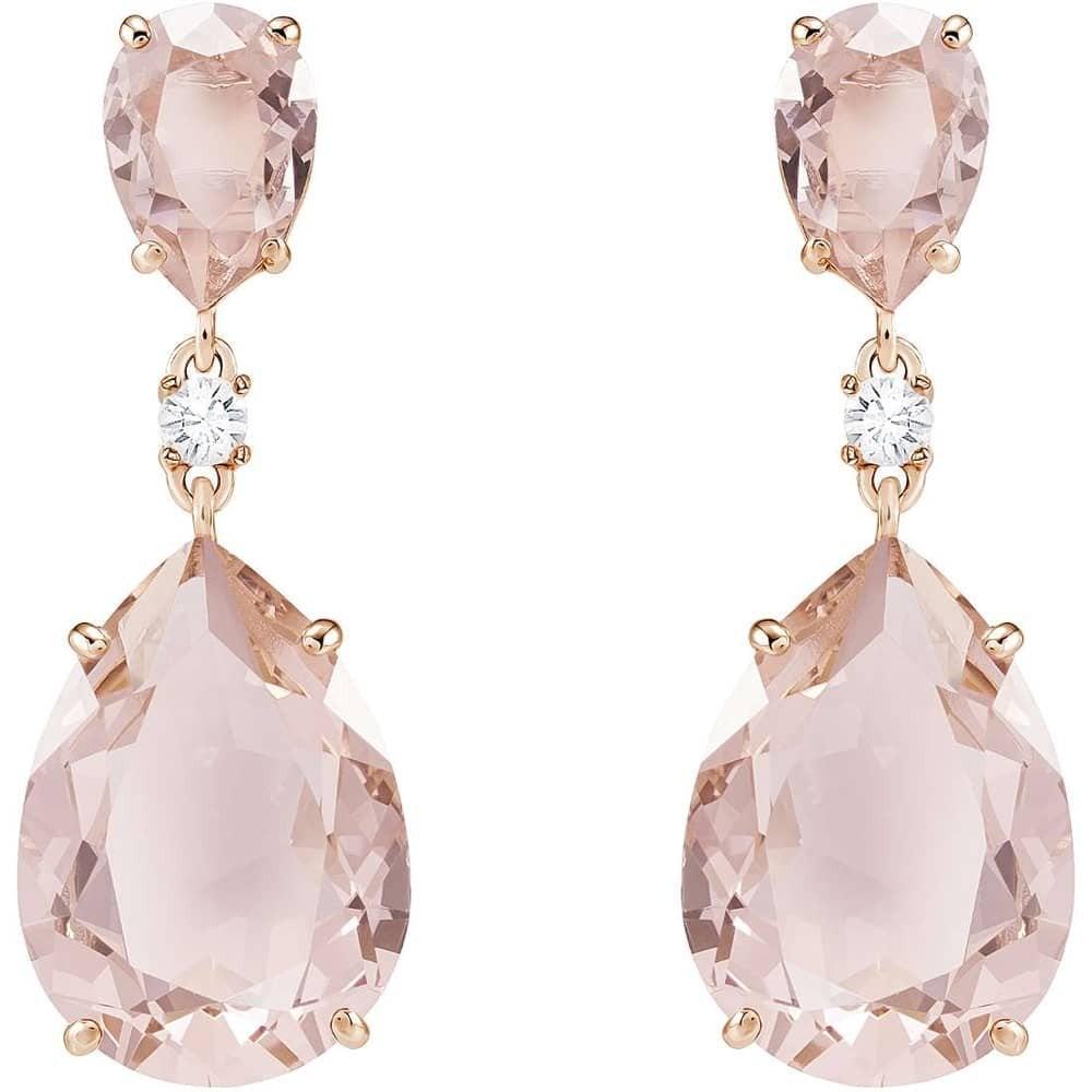 Swarovski Rose Gold Pink Stone Oval Drop Earrings Jewellery From Faith Jewellers Uk