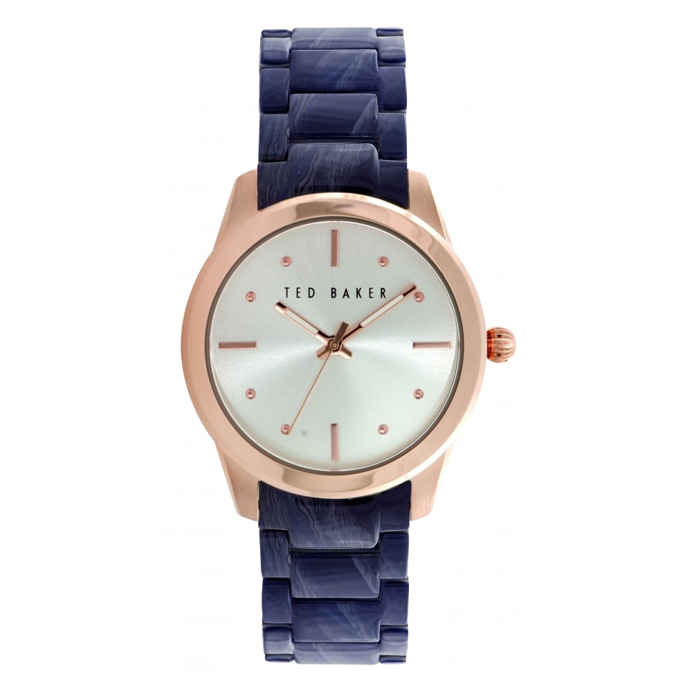 Ted Baker Ladies Rose Gold And Siler Blue Dial Watch Watches From