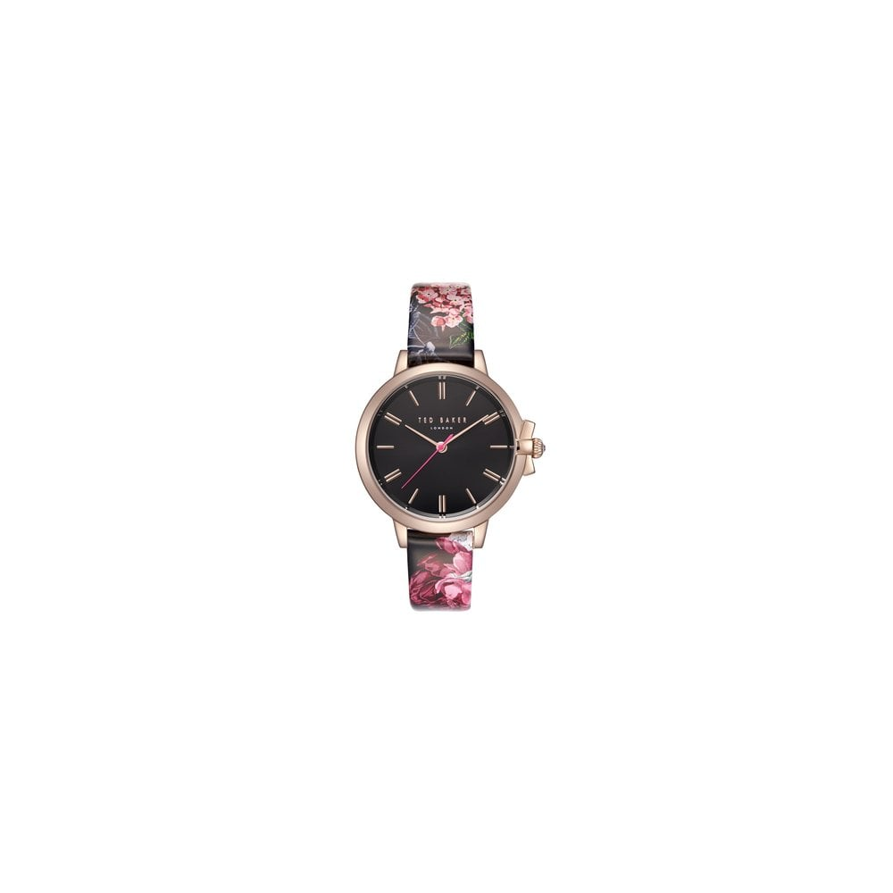 4b5ed93c73f9 Ted Baker Ladies Ruth Black Pink Flower Watch - Women s Watches from ...