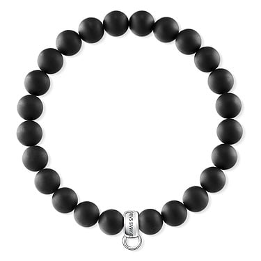 Thomas Sabo Matt Black Beaded Bracelet 15cm