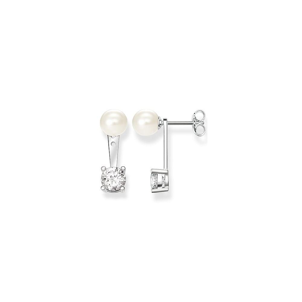 9969f6c96 Thomas Sabo Sterling Silver Glam & Soul Pearl & CZ Ear Jacket Stud  Earrings