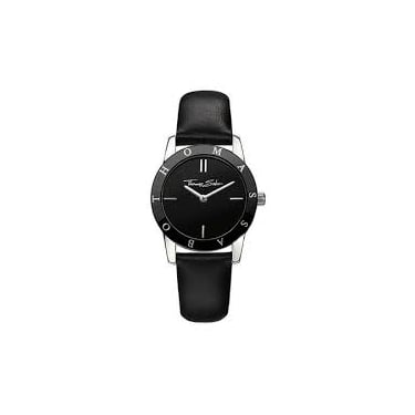 Thomas Sabo Watch 30mm Round Quartz Stainless Steel Black Leather Strap Black Dial