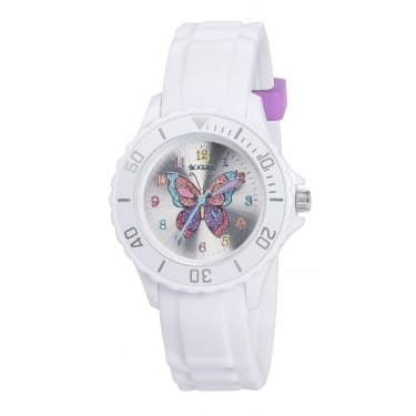 Tikkers Girls White Butterfly Watch
