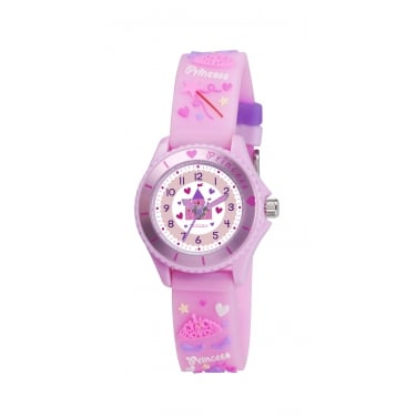 Tikkers Pink Raised Pattern Strap Watch