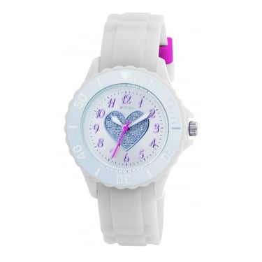 Tikkers White Strap Heart Dial Watch