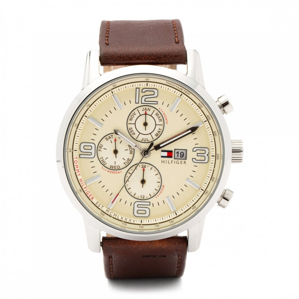 8e6d31a8 Tommy Hilfiger Gents Round Gabe Brown Leather Strap Watch - Watches ...