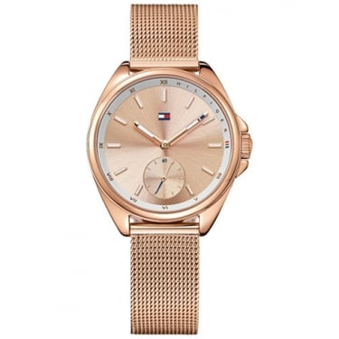 Tommy Hilfiger Ladies Ava Rose Gold Mesh Strap Watch