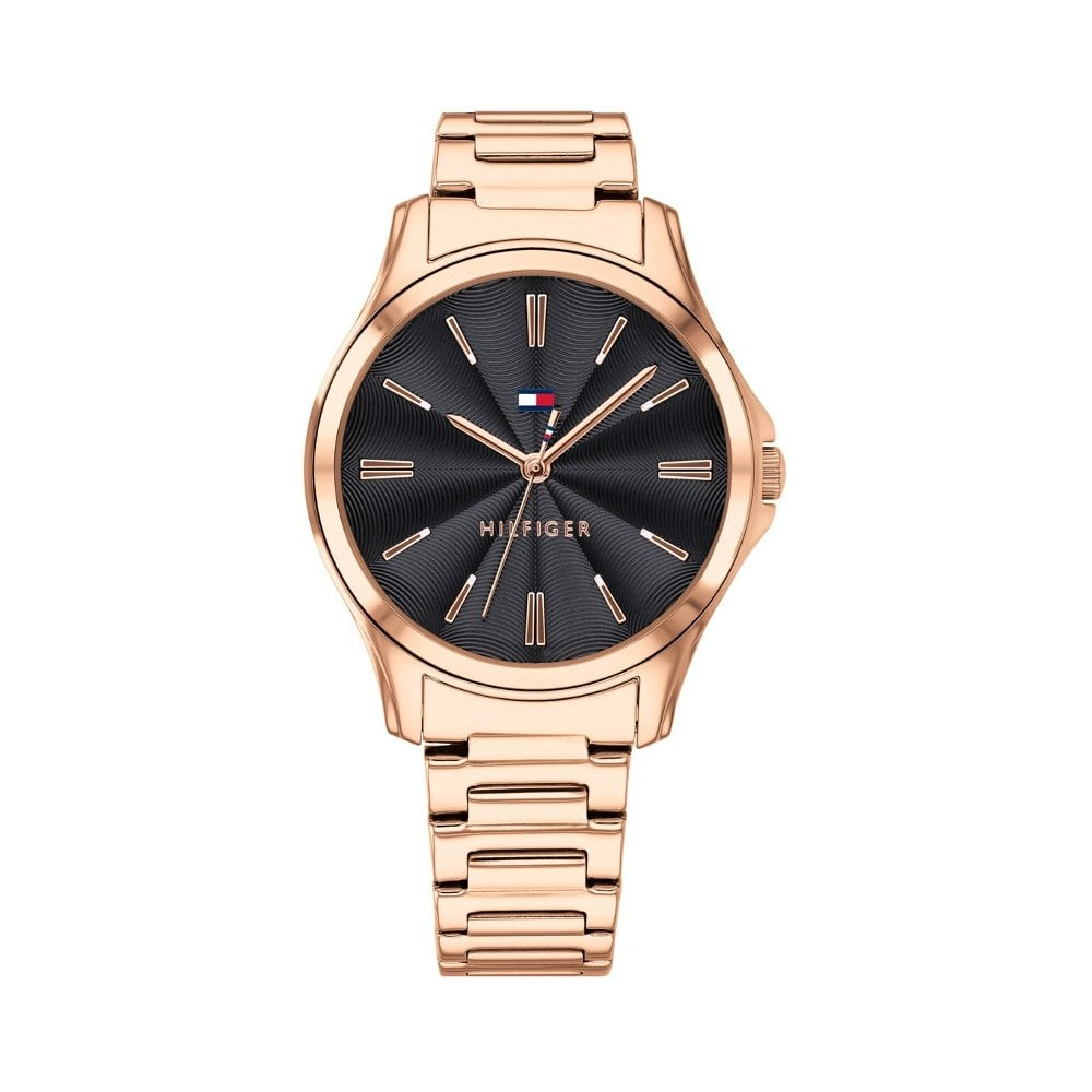 d96a73ca Tommy Hilfiger Ladies Rose Gold Black Watch - Women's Watches from ...