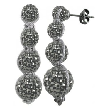 Tresor Paris 4 stone drop Grey Crystal Earrings