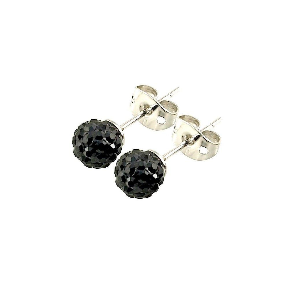 hoop zoom swarovski black stud plated rose gold earrings crystal women