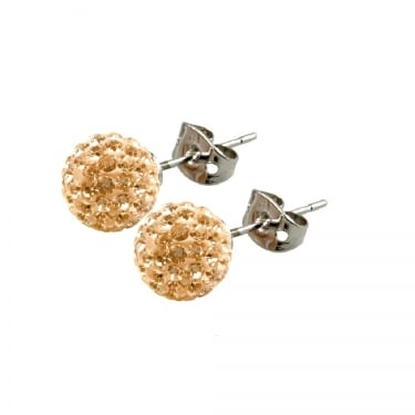 Tresor Paris Gold Crystal Stud Earrings