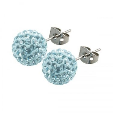 Tresor Paris Light Blue Crystal Stud Earrings