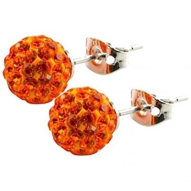 Tresor Paris Orange Crystal Stud Earrings 8mm