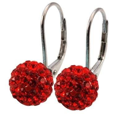 Tresor Paris Red Cyrstal Earrings 10mm