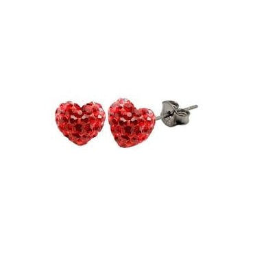 Tresor Paris Red Heart Crystal 12mm Stud Earrings