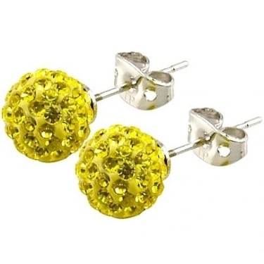 Tresor Paris Yellow Crystal Ball Stud Earrings