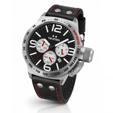TW Steel Gents Canteen Chronograph Blacl Leather Watch