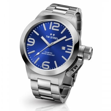 TW Steel Gents Canteen Silver Navy Watch